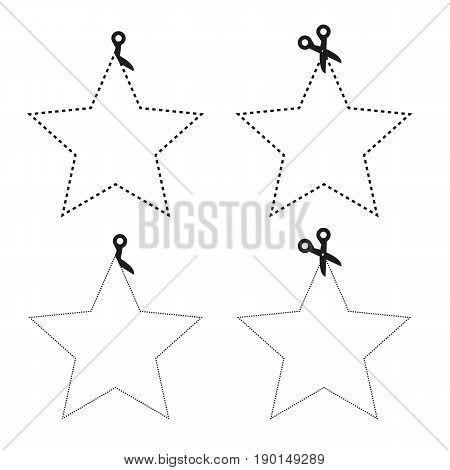 Isolated set of scissors cutting the paper the shape of 5 pointed star with different lines