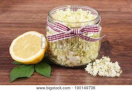 Elderberry Flowers And Lemon For Preparing Fresh Healthy Juice