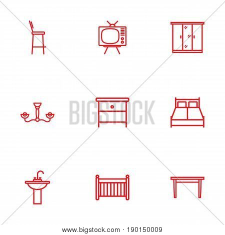 Set Of 9 Set Outline Icons Set.Collection Of Closet, Bar Stool, Double Bed And Other Elements.