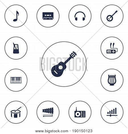 Set Of 13 Song Icons Set.Collection Of Tambourine, Earphones, Knob And Other Elements.
