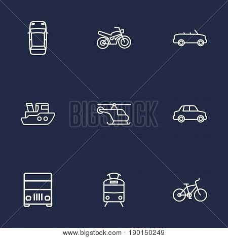 Set Of 9 Transport Outline Icons Set.Collection Of Lorry, Cabriolet, Tram And Other Elements.