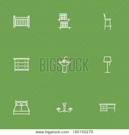 Set Of 9 Decor Outline Icons Set.Collection Of Drawer Unit, Chandelier, Bookshelf Elements.