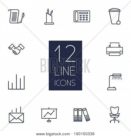 Set Of 12 Bureau Outline Icons Set.Collection Of Printing Machine, Pen Storage, Partnership And Other Elements.