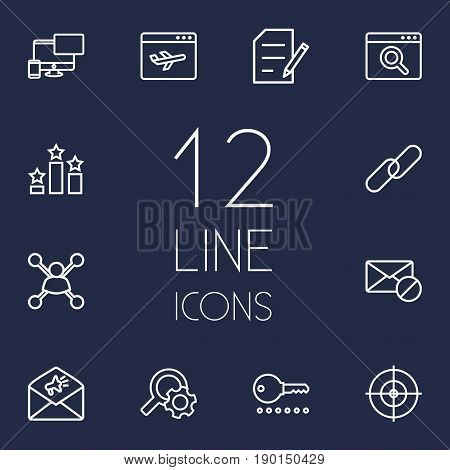 Set Of 12 Search Outline Icons Set.Collection Of Running Title, Url, Block And Other Elements.