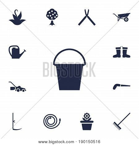 Set Of 13 Horticulture Icons Set.Collection Of Wheelbarrow, Flowerpot, Garden Hose And Other Elements.