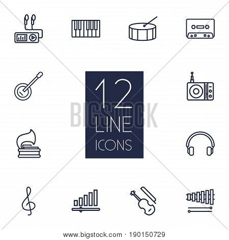 Set Of 12 Music Outline Icons Set.Collection Of Record, Headphones, Note And Other Elements.