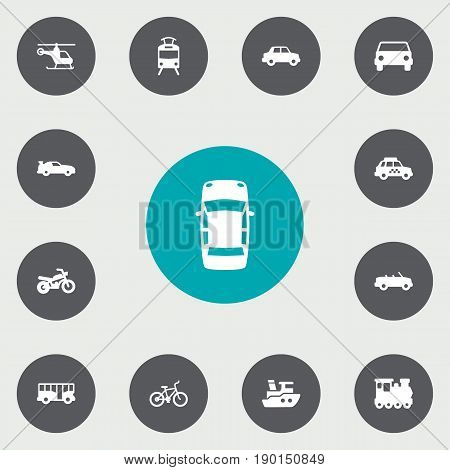 Set Of 13 Shipping Icons Set.Collection Of Taxicab, Coupe, Motorbike And Other Elements.