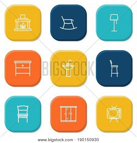 Set Of 9 Decor Outline Icons Set.Collection Of Floor Lapm, Bar Stool, Tv Set And Other Elements.
