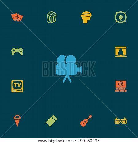Set Of 13 Pleasure Icons Set.Collection Of Theater, Hall, Spectacles And Other Elements.