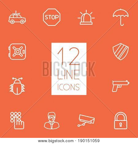 Set Of 12 Safety Outline Icons Set.Collection Of Protection, Weapon, Virus And Other Elements.