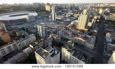 Kiev, Ukraine, June 5, 2017. Kiev, Ukraine, June 5, 2017. Summer morning in Kiev, aerial view