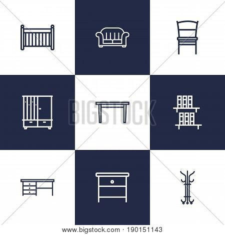 Set Of 9 Decor Outline Icons Set.Collection Of Crib , Nightstand, Desk Elements.