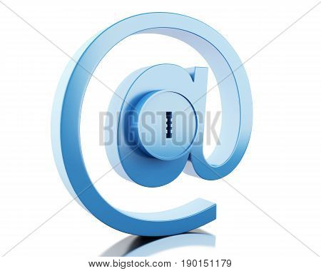 3d illustration. Mail sign with lock. E-mail Safety concept. Isolated white background