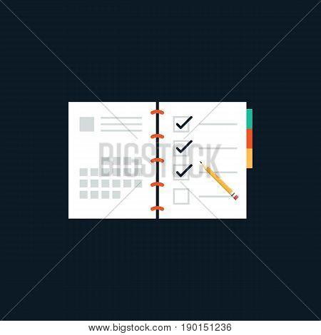Agenda list flat design icon concept vector illustration