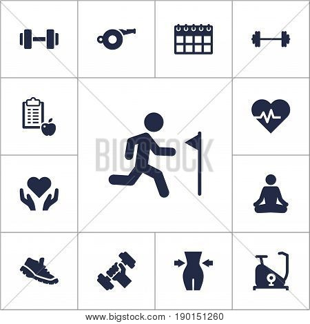 Set Of 13 Bodybuilding Icons Set.Collection Of Training Bicycle, Blower, Sneakers And Other Elements.