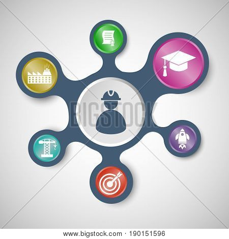 Engineering infographic templates with connected metaballs, stock vector