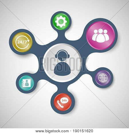 Customer service infographic templates with connected metaballs, stock vector