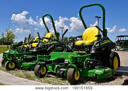 MOORHEAD, MINNESOTA, May 31, 2015: The new John Deere Riding ZTrak John Deere lawn mowers are products of the John Deere Co, an American corporation that manufactures agricultural, construction, forestry machinery, diesel engines, and drivetrains.