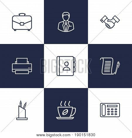 Set Of 9 Bureau Outline Icons Set.Collection Of Administrator, Telephone Directory, Hot Drink And Other Elements.
