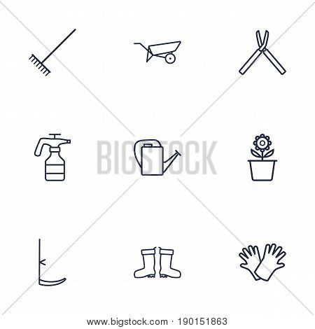 Set Of 9 Horticulture Outline Icons Set.Collection Of Harrow, Plant Pot, Waterproof Shoes And Other Elements.