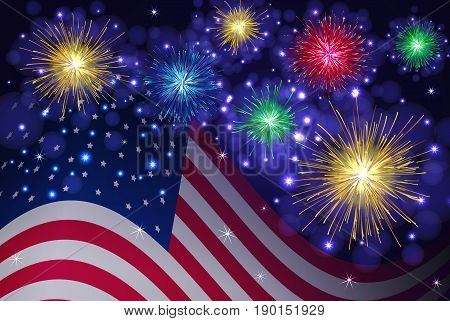 American flag and celebration sparkling fireworks vector background. Independence Day 4th of July holidays salute.