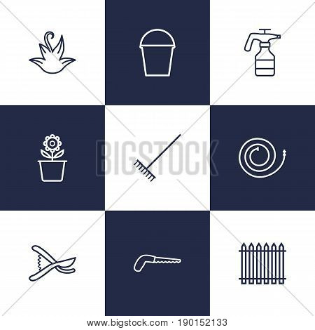 Set Of 9 Household Outline Icons Set.Collection Of Atomizer, Firehose, Palisade And Other Elements.