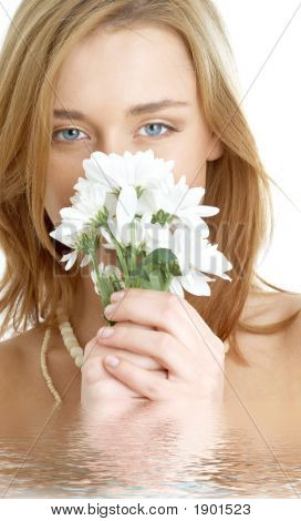 Girl With White Chrysanthemum In Water