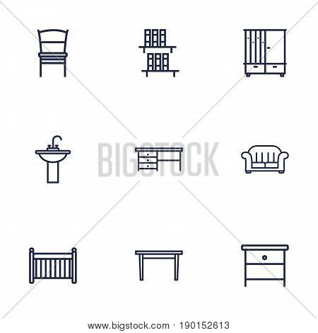 Set Of 9 Decor Outline Icons Set.Collection Of Desk, Nightstand, Washbasin Elements.
