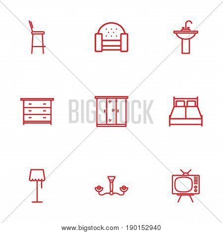 Set Of 9 Set Outline Icons Set.Collection Of Closet, Tv Set, Double Bed And Other Elements.