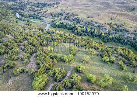 aerial view of Dismal River in Nebraska Sandhills near Seneca, spring scenery