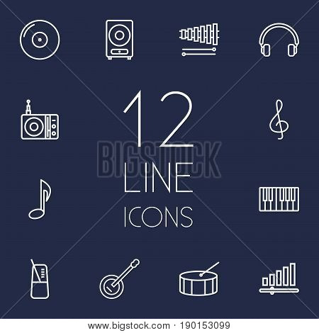 Set Of 12 Music Outline Icons Set.Collection Of Percussion, Audio Level, Pace And Other Elements.