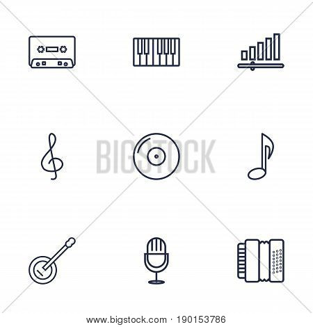 Set Of 9 Song Outline Icons Set.Collection Of Harmonica, Guitar, Gramophone And Other Elements.