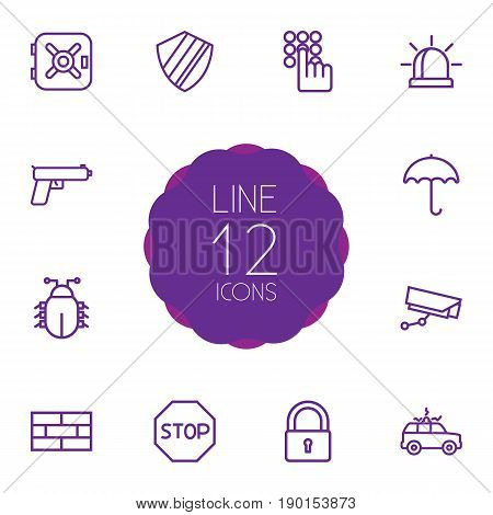 Set Of 12 Procuring Outline Icons Set.Collection Of Protection, Supervision, Virus And Other Elements.