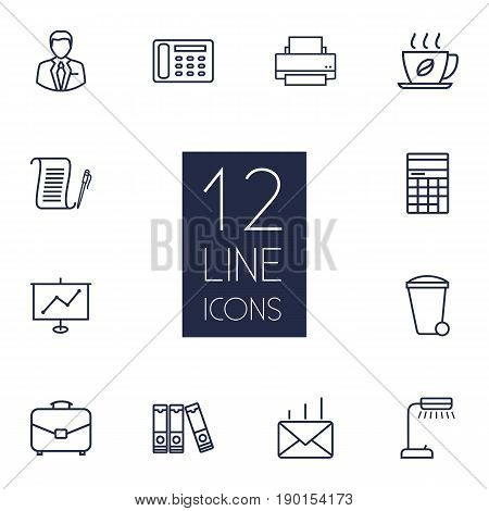 Set Of 12 Work Outline Icons Set.Collection Of Printing Machine, Administrator, Recycle Bin And Other Elements.