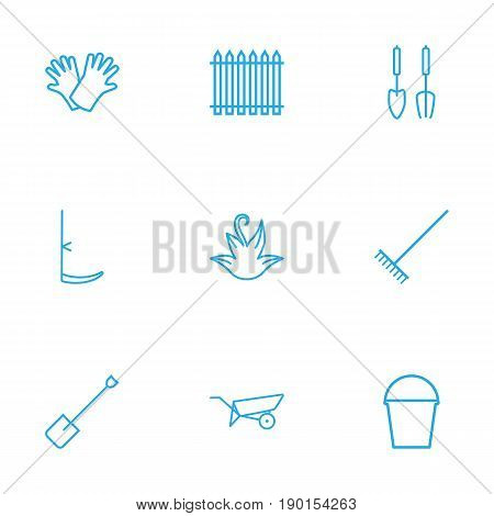 Set Of 9 Household Outline Icons Set.Collection Of Harrow, Spade, Barrow And Other Elements.