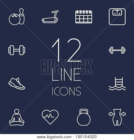 Set Of 12 Bodybuilding Outline Icons Set.Collection Of Pulse, Weight Loss, Kettlebells And Other Elements.
