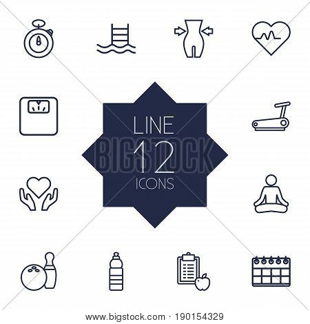 Set Of 12 Bodybuilding Outline Icons Set.Collection Of Scales, Weight Loss, Water Bottle And Other Elements.
