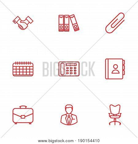 Set Of 9 Cabinet Outline Icons Set.Collection Of Document Case, Telephone Directory, Portfolio And Other Elements.