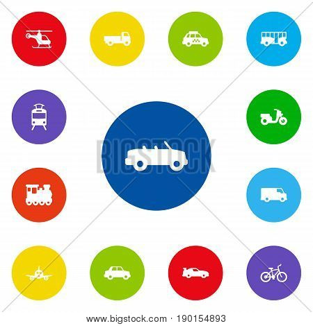 Set Of 13 Traffic Icons Set.Collection Of Taxicab, Streetcar, Lorry And Other Elements.