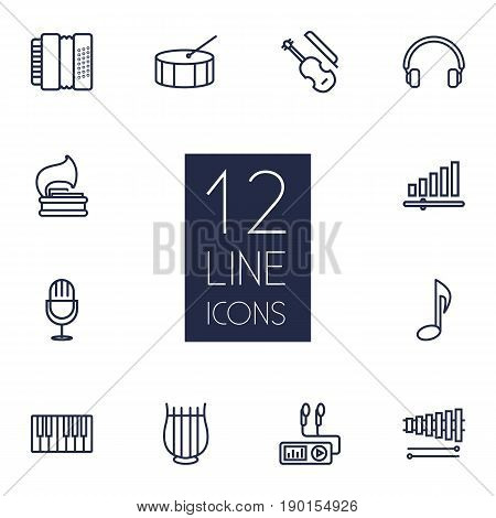 Set Of 12 Melody Outline Icons Set.Collection Of Percussion, Fiddle, Wooden Block And Other Elements.