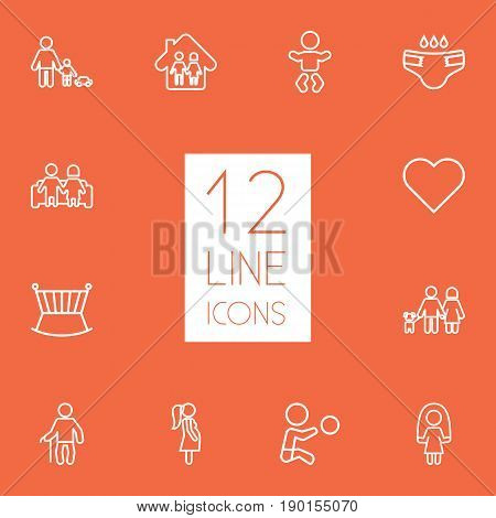 Set Of 12 Family Outline Icons Set.Collection Of Playing, Soul, Lovers And Other Elements.