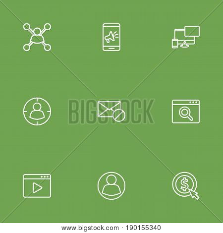 Set Of 9 Optimization Outline Icons Set.Collection Of Cost Per, Style, Marketing And Other Elements.