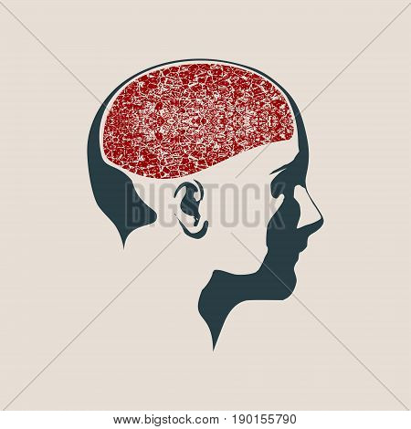 Abstract illustration of a human head with brain. Woman face silhouette. Medical theme creative concept