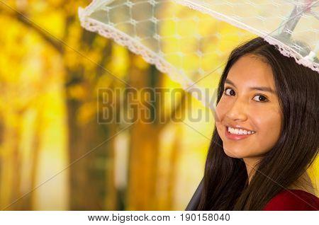 closeup of a beautiful young woman with an umbrella at beautiful autum park.
