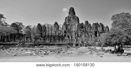 The Bayon is a well-known Khmer temple at Angkor in Cambodia. Built in the late 12th century or early 13th century as the official state temple of the Mahayana Buddhist King Jayavarman VII,