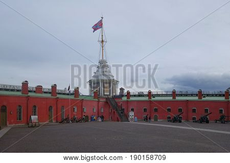 Naryshkin Bastion and the Flag Tower of the Peter and Paul Fortress in St. Petersburg