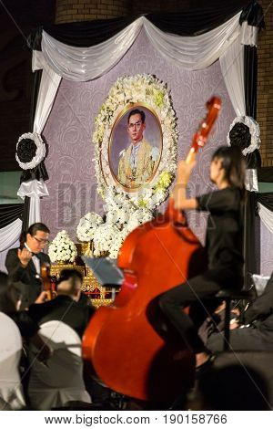 Chiang mai - December 5, 2017: Thai people pay respect in memory of His Majesty the King of Thailand