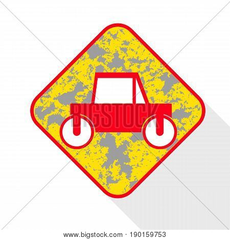 Icon of road roller. Shadow reflection design. Vector illustration.