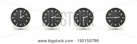 Closeup group of black and white clock with shadow for decorate show the time in 2 2:15 2:30 2:45 p.m. isolated on white background beautiful 4 clock picture in different time