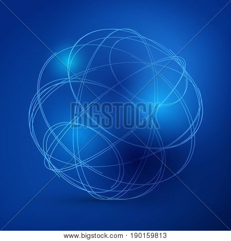 Digital blue lines. Color technology sphere illustration. Modern glowing shape design with glow point. 3d connection